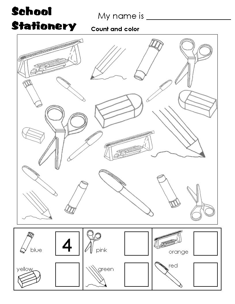 Worksheets Academic Worksheets For Kids school stationary count kids maths pinterest worksheets back to worksheetskindergarten