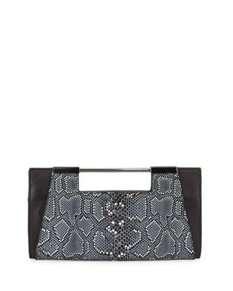 Mosaic+Python-Embossed+Leather+Clutch+Bag,+Black+Multi+by+Halston+Heritage+at+Neiman+Marcus.