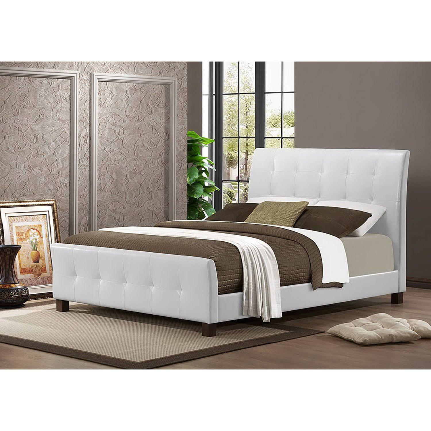 contemporary faux leather platform bed by baxton studio queen
