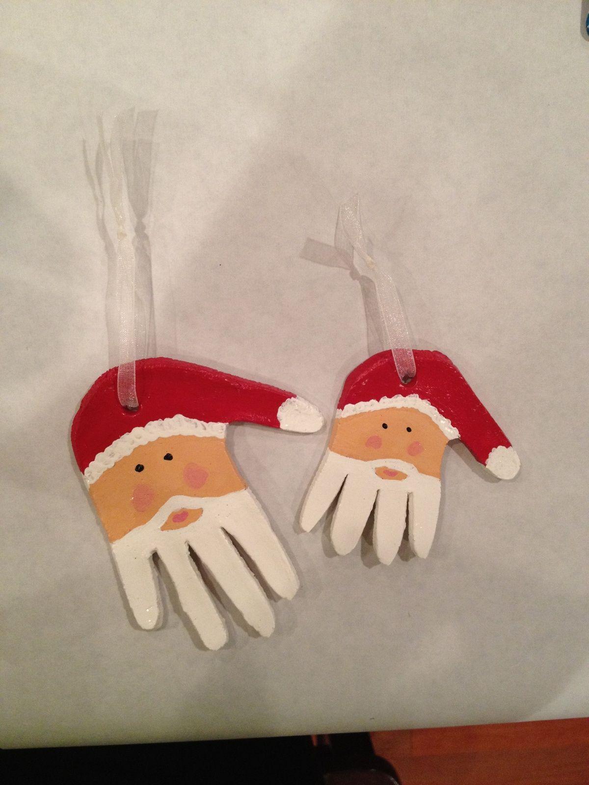 Handprint santa Xmas Fun Pinterest