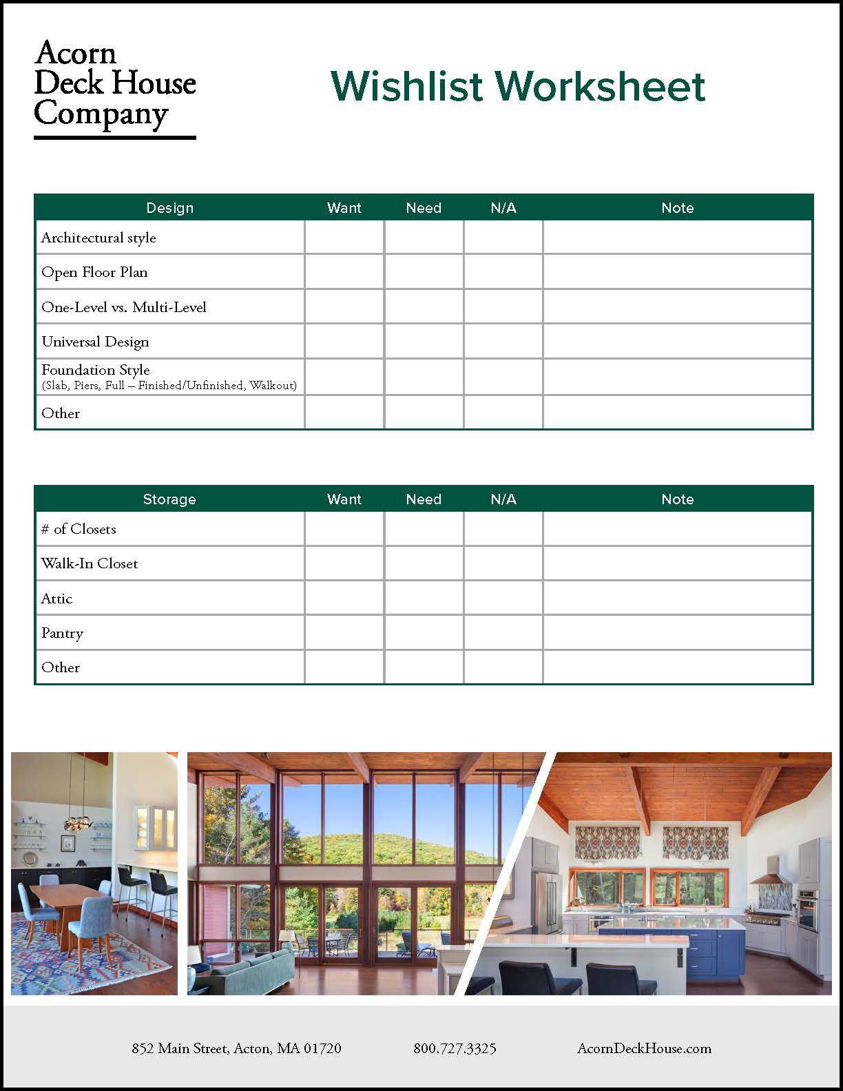 Plan Your Dream Home With This Downloadable Custom Home Wishlist Worksheet House Deck Building A House Custom Homes