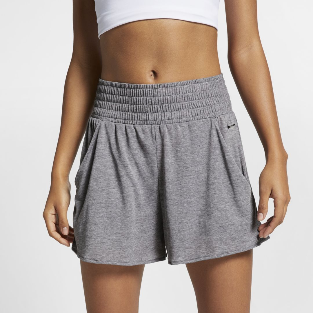 Nike Dri Fit Studio Women S Yoga Training Shorts Size 2xl Oil Grey Training Shorts Nike Dri Fit Yoga Women