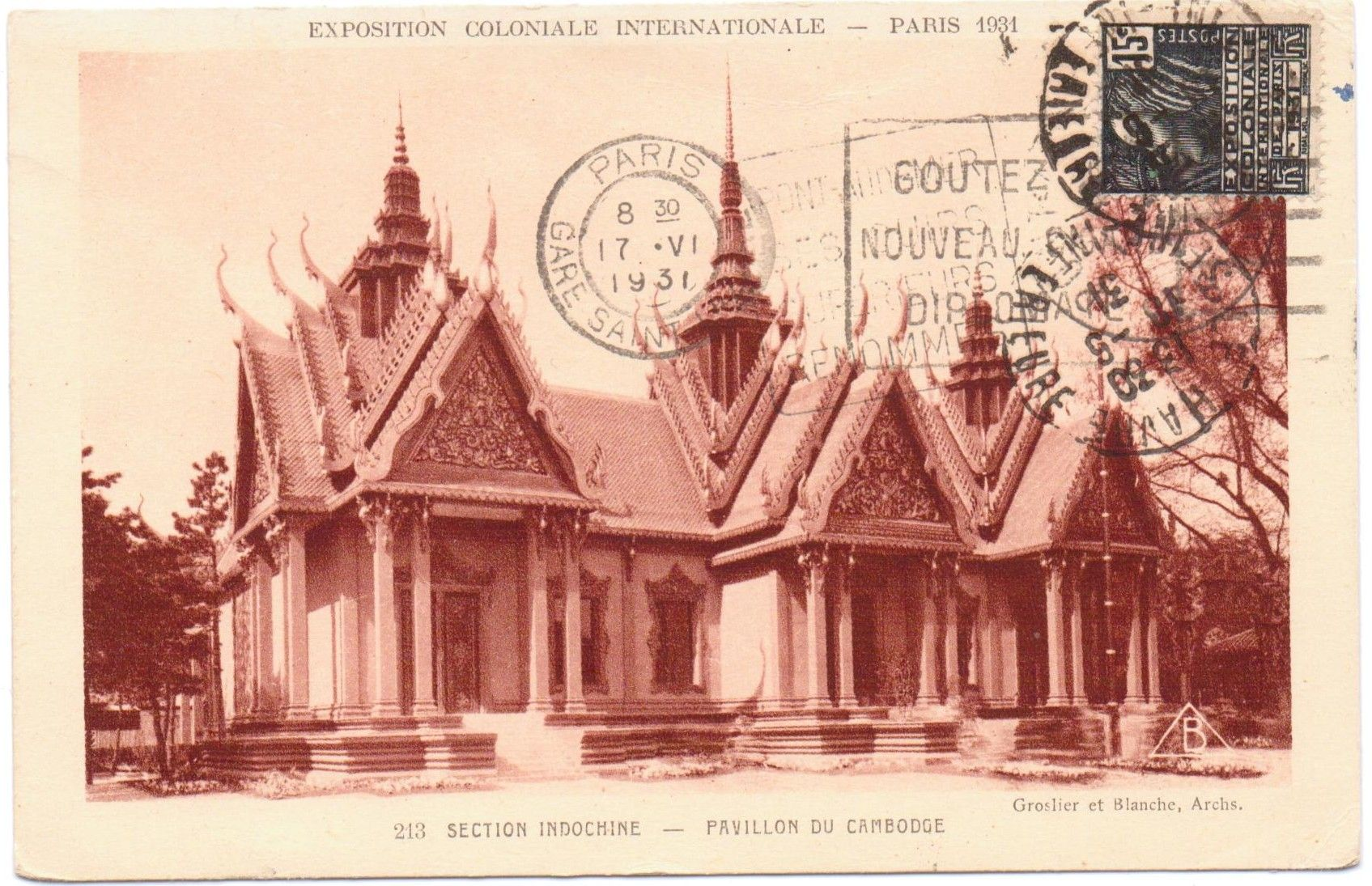 The Pavillon du Cambodge was a reproduction of typical Cambodian style buildings for the 1931 colonial exhibition in Paris.