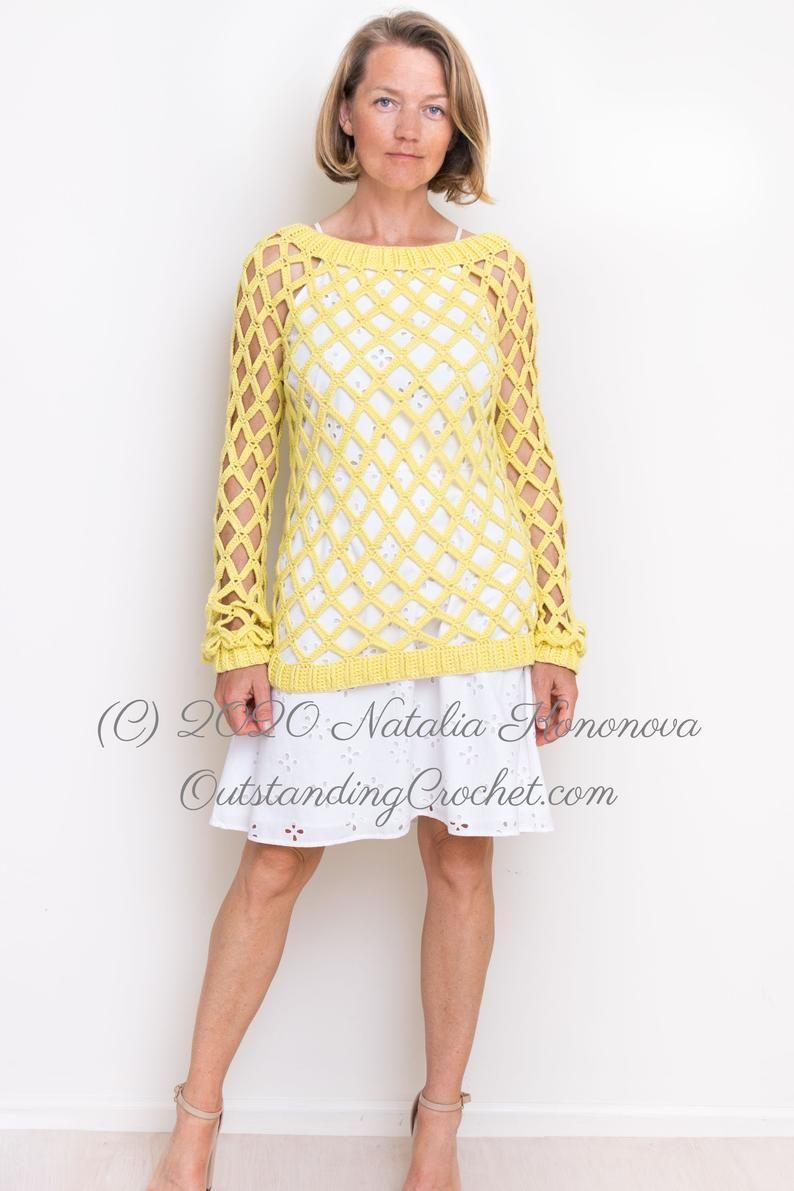 Off-Shoulder Crochet Sweater PATTERN Sunny Seine Women   Etsy