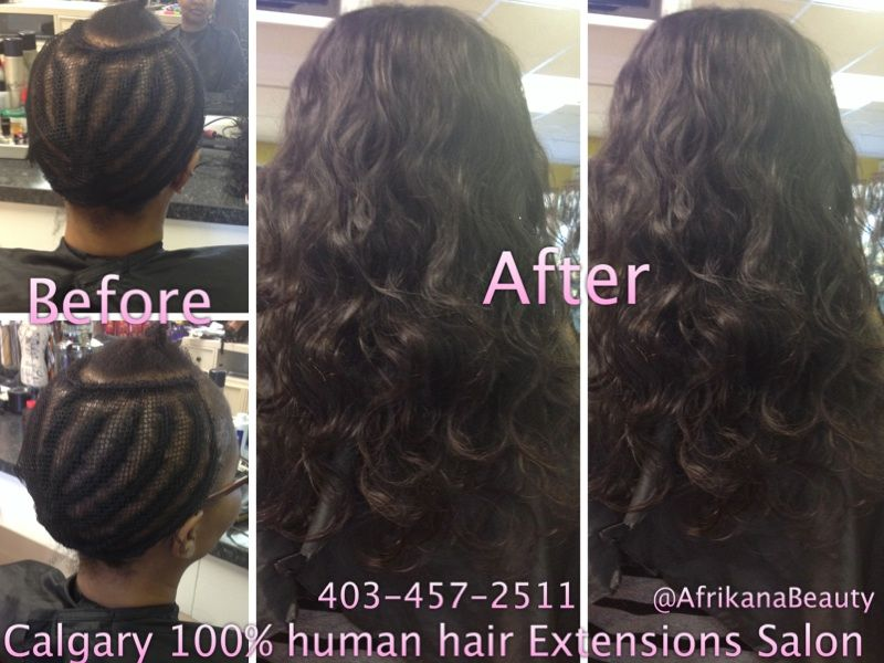 Beforeafter Weave Full Head Hair Extensions Before After