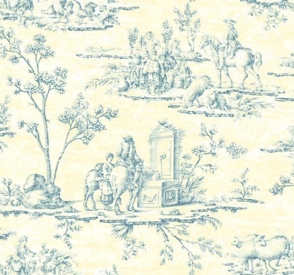 Designer Blue Yellow French Toile Wallpaper Double Roll