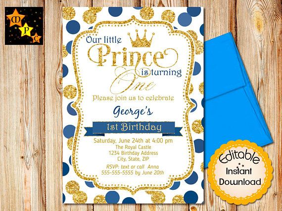 Prince Birthday Invitations