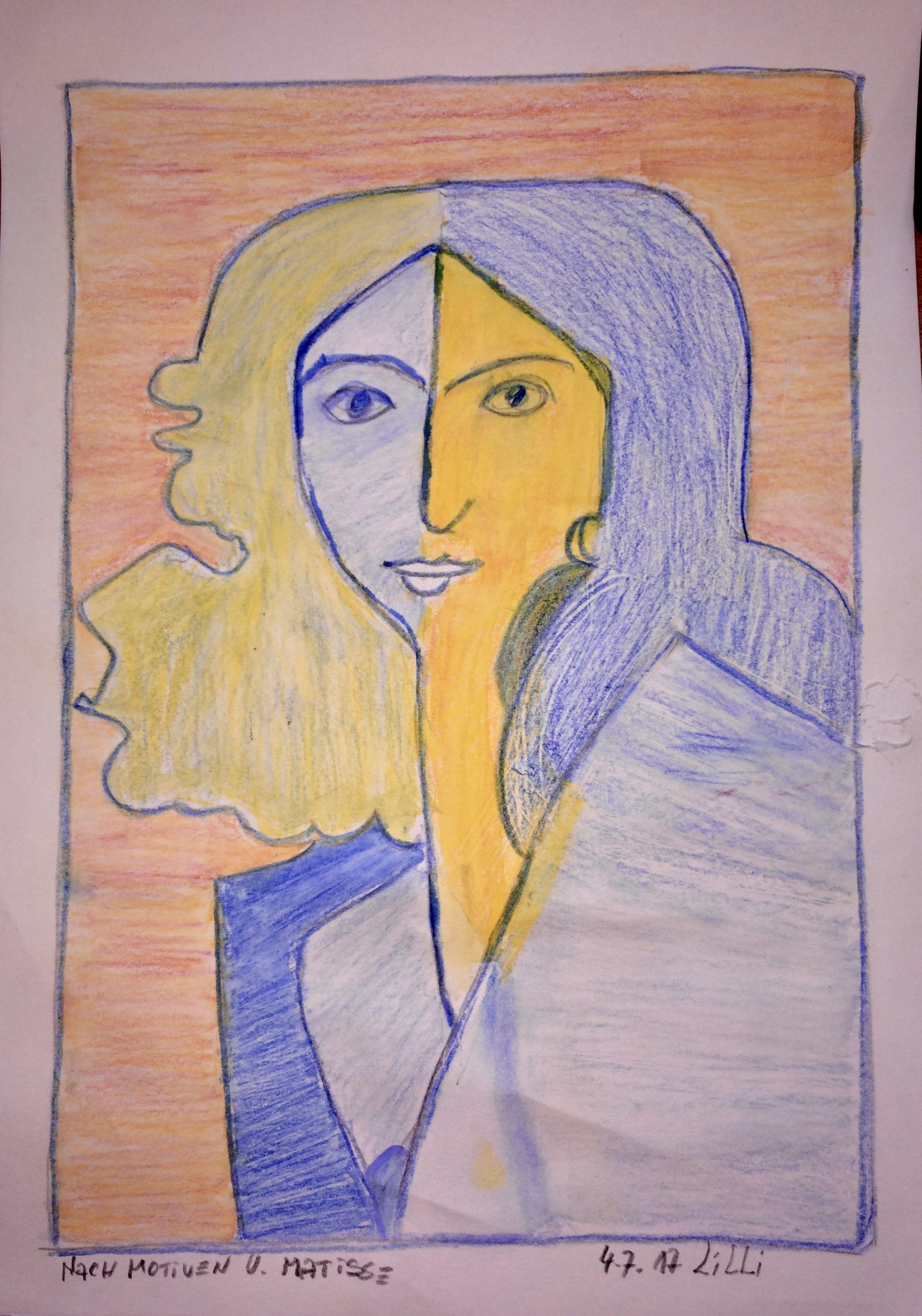 Lilli Frau Aquarellstifte n Motiven von Henri Matisse
