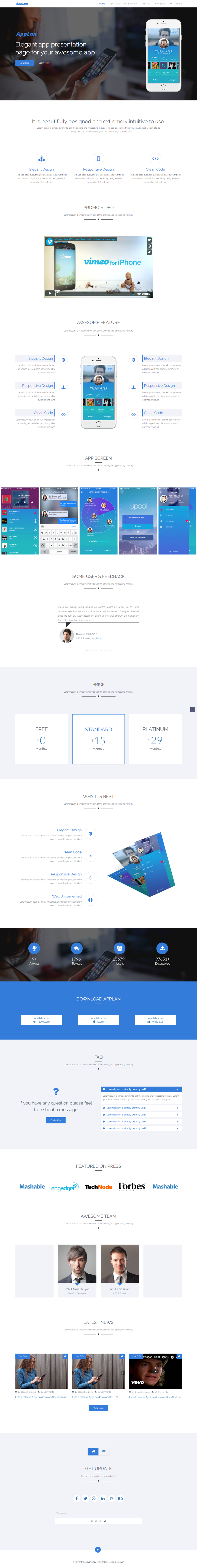 AppLan Free Elegant App Presentation HTML Template GraphicArmy