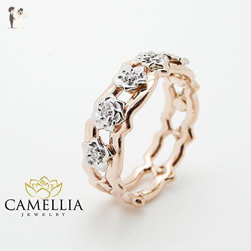 14K Rose Gold Diamond Wedding Ring Unique Gold Roses Band Right Hand Diamond Ring - Wedding and engagement rings (*Amazon Partner-Link)