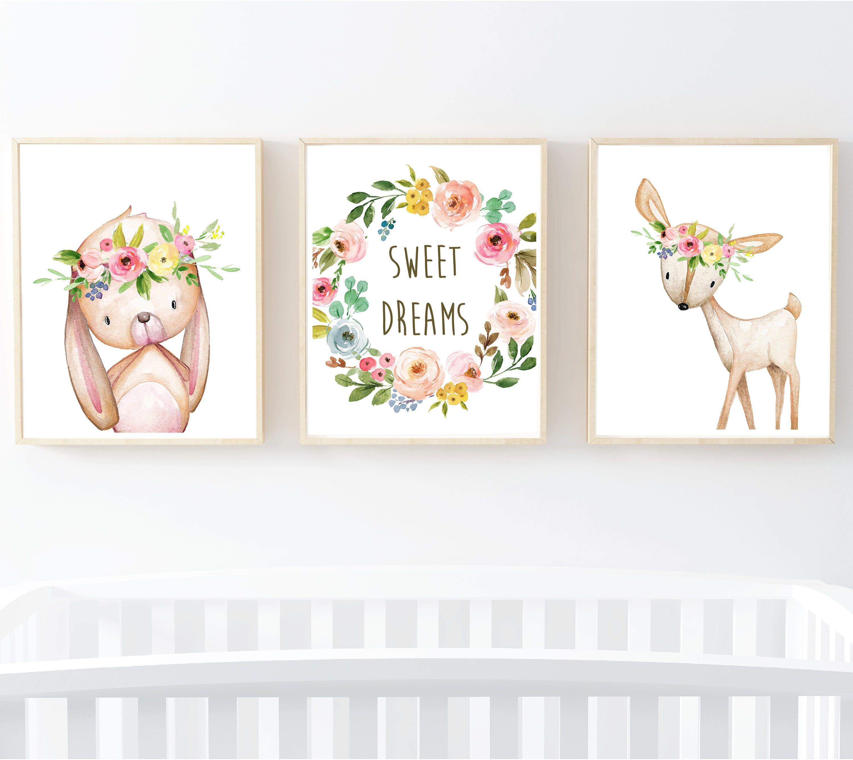 Sweet Dreams Woodland Animals Boho Printable Nursery Art