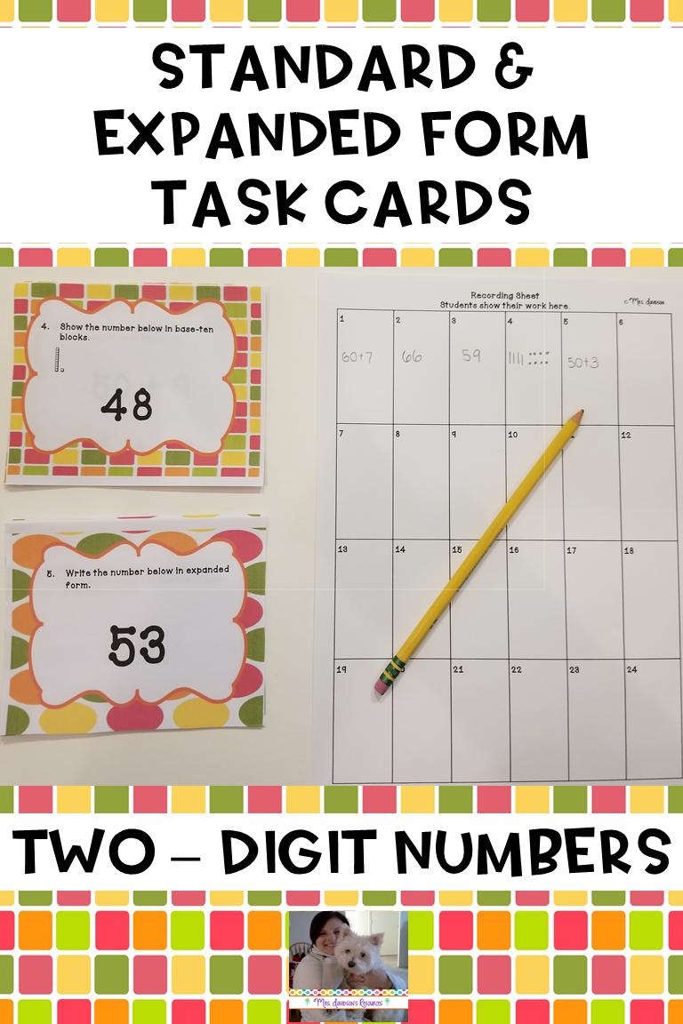 Standard Form & Expanded Form Task Cards Pinterest