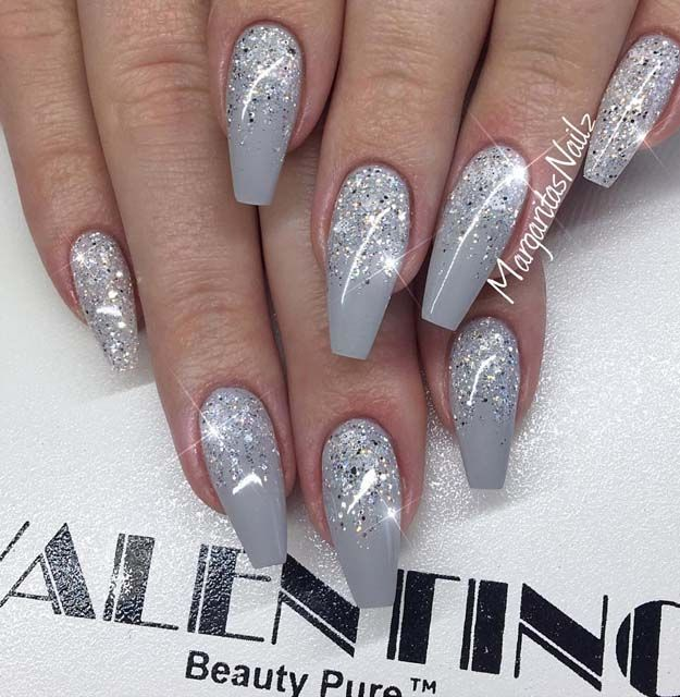 Most popular coffin nail designs to try yourself glitter gray most popular coffin nail designs to try yourself coffin nails solutioingenieria Gallery