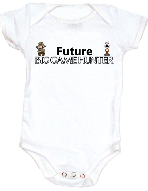 0f59d34c Future Big Game Hunter Personalized baby onesie - add a name at no  additional cost! Cool, badass and Geeky onesies. Unique baby shower gift.  Or Tee Shirts ...