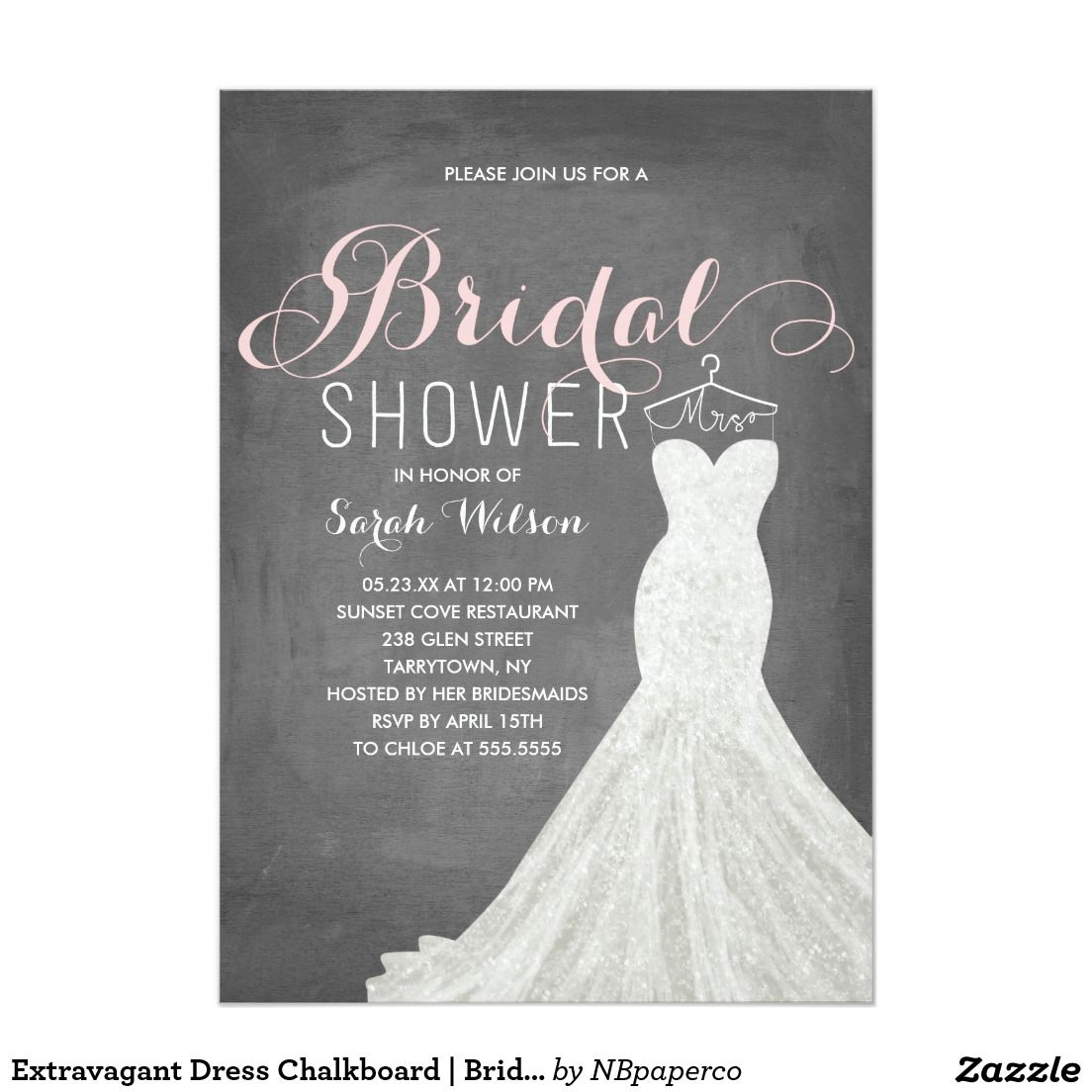Extravagant Dress Chalkboard Bridal Shower Card Chalkboard