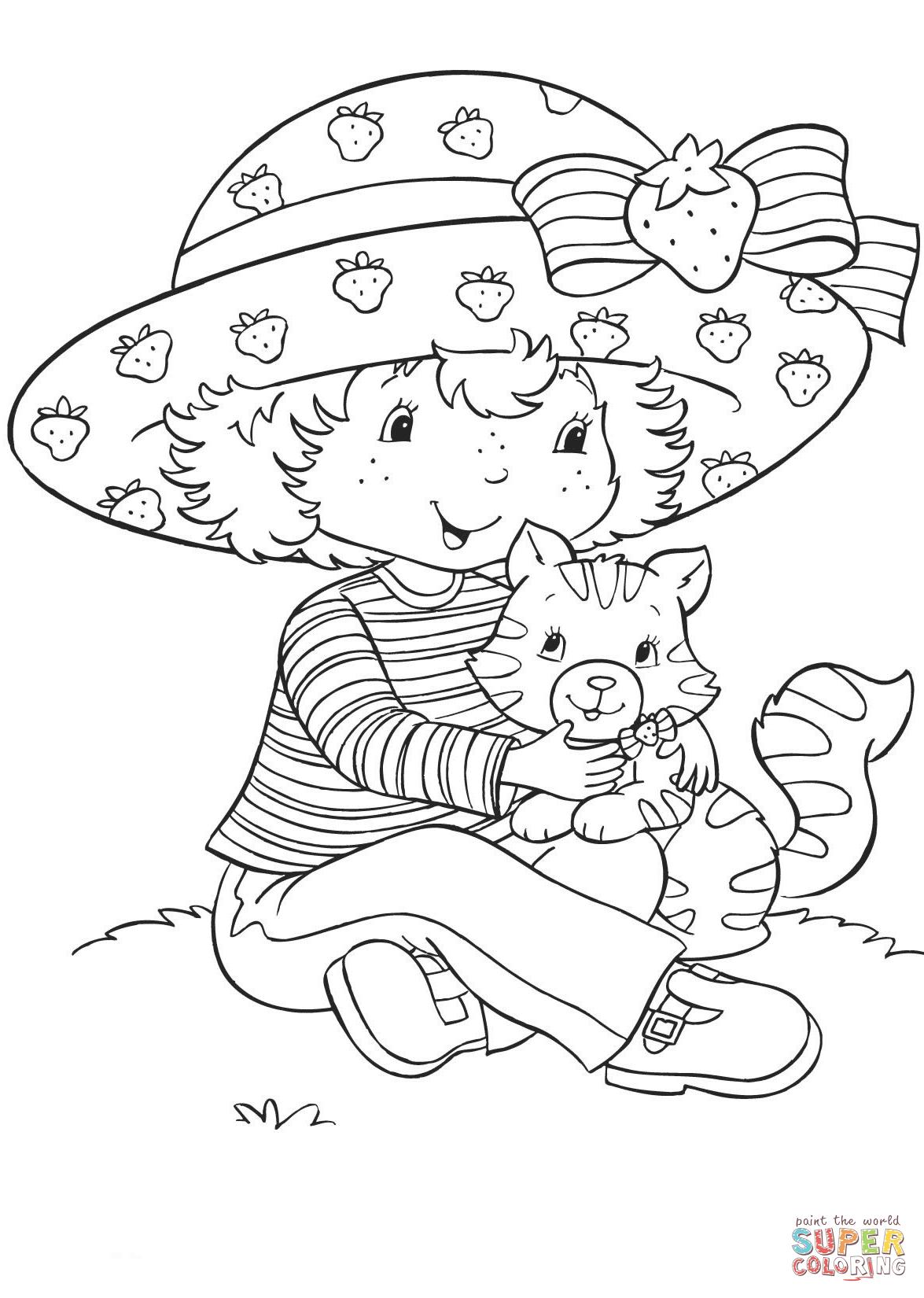 Strawberry Shortcake With Custard Super Coloring In 2020 Strawberry Shortcake Coloring Pages Coloring Pages Coloring Pages For Kids
