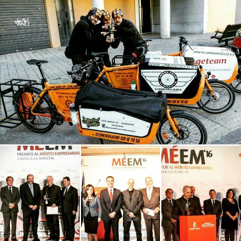 Premio Merito Empresarial Castilla La Mancha Sostenibilidad 2016 Méem16 Www.urbanciclo.es - Tw: @urbancicloalba- f: Urban Ciclo - Instagram: @urbanciclo #urbanciclo #ecomensajeria  #Albacete #cargobike #bicimensajeria #bikemessengers #bullitteer #bullitt #bullittlife #messlife #bikecourier #transportesostenible