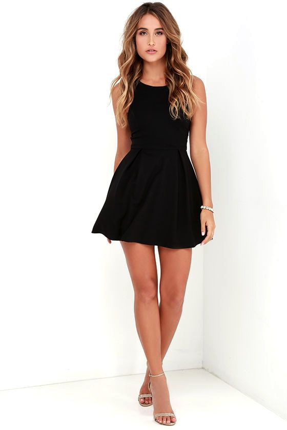 Lulus Cutout And About Black Skater Dress Size X Small