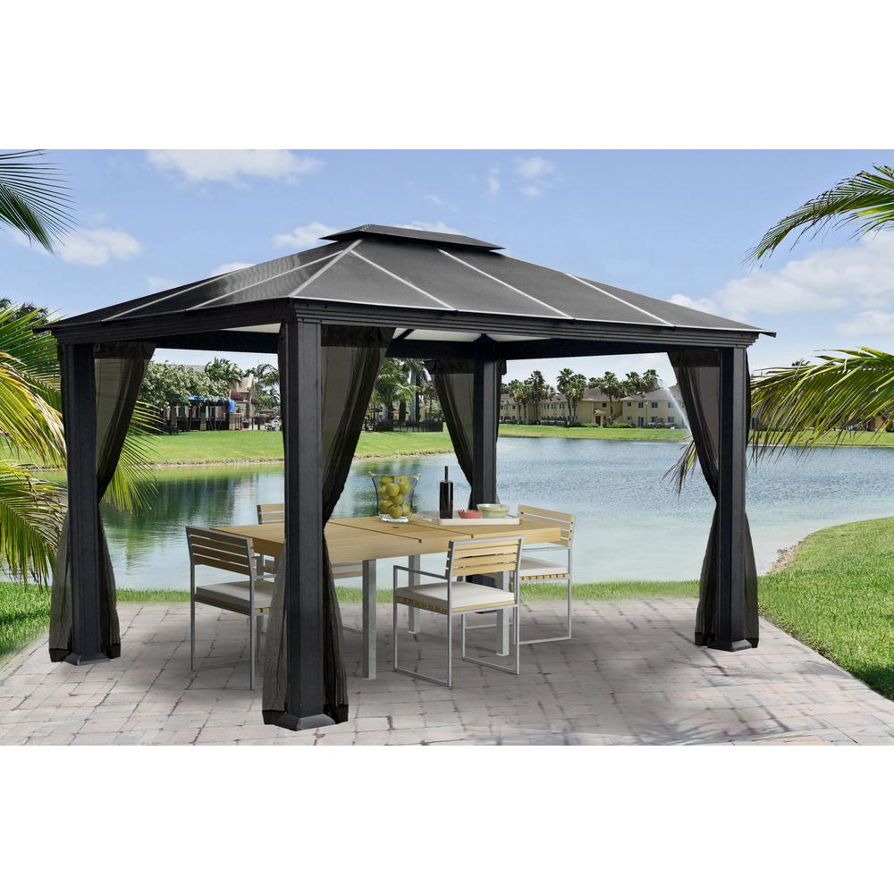 Paragon Outdoor Paragon 11 Ft X 13 Ft Aluminum Hard Top Gazebo With Mosquito Netting Gz3k The Home Depot Outdoor Canopy Gazebo Patio Gazebo Hardtop Gazebo