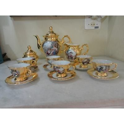 11327 Jogo Cafe Porcelana Dd Com Ouro R 1 500 00 Porcelana Carrinho De Cha Cafe