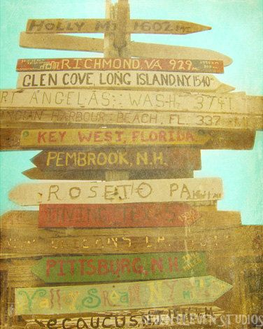 Key West Florida Beach Sign Art Print Vintage Beach Brown Aqua