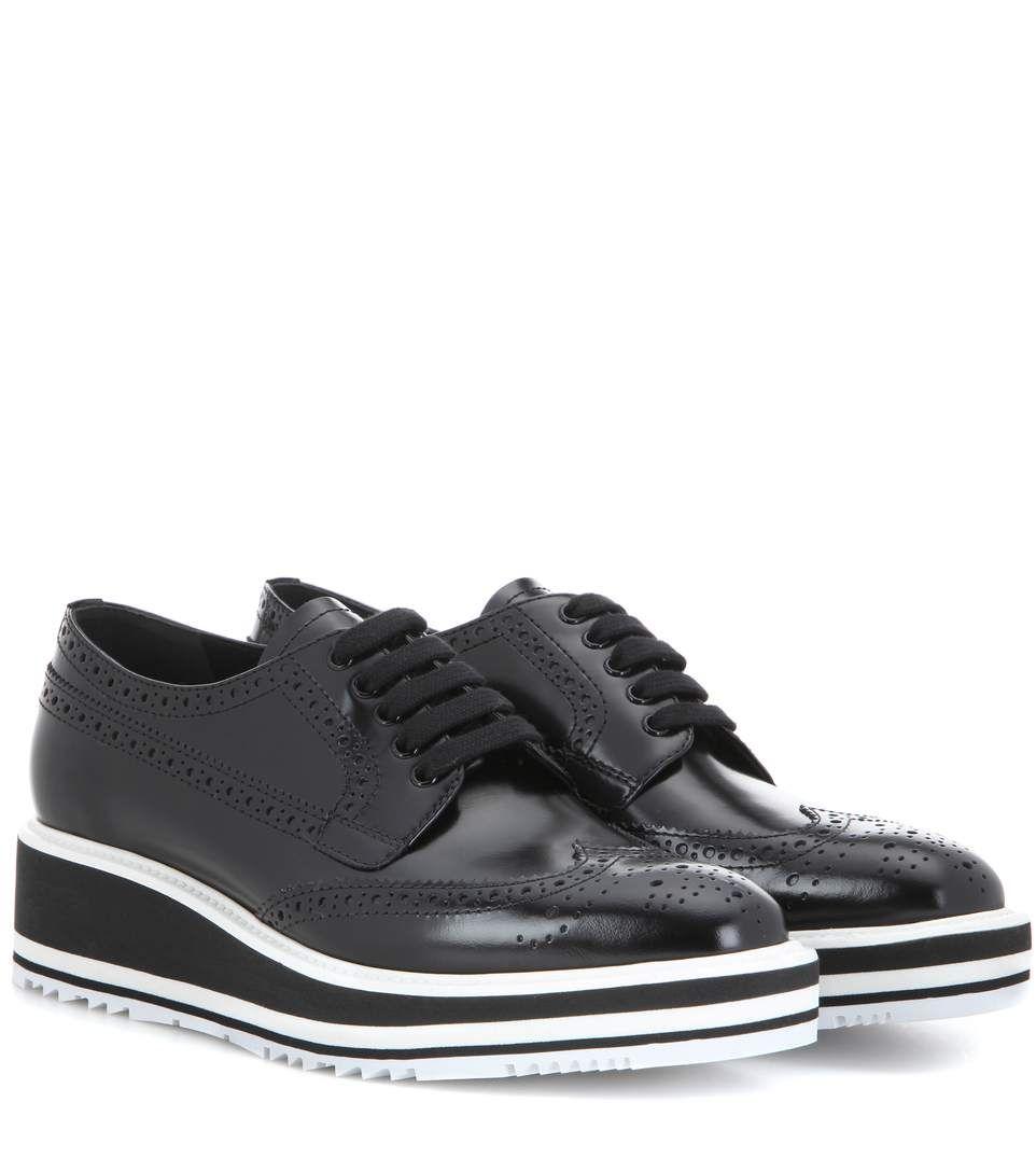 32368786ecec Wingtip black leather platform brogues