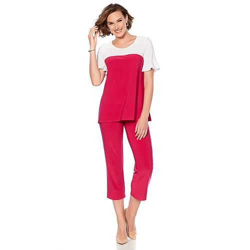 cf979790a59 Slinky® Brand 2pc Colorblock Tunic and Crop Pant Set - 8678593 ...