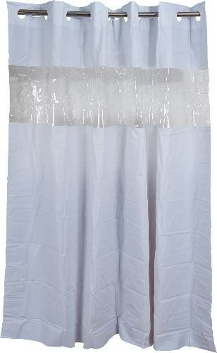 Arcs Angles Hbh08vis01 Hookless Shower Curtain With Clear Window