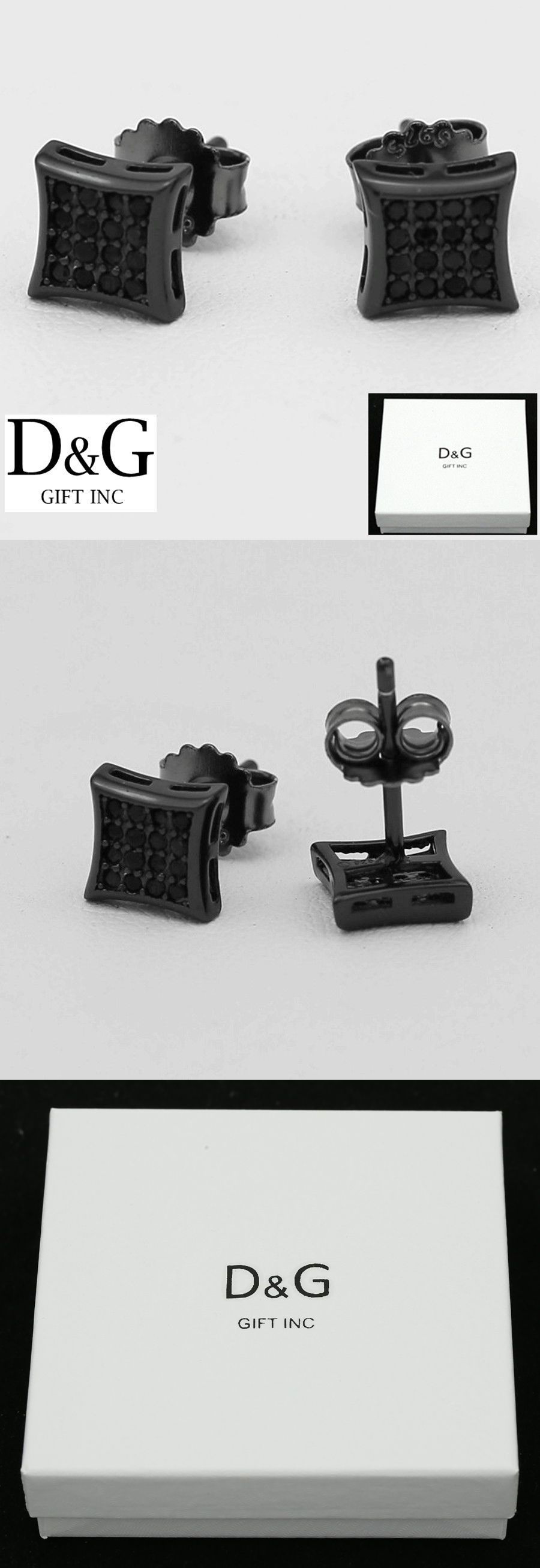 DG Men s Sterling Silver 925 Black Iced Out CZ Square Studs Earring