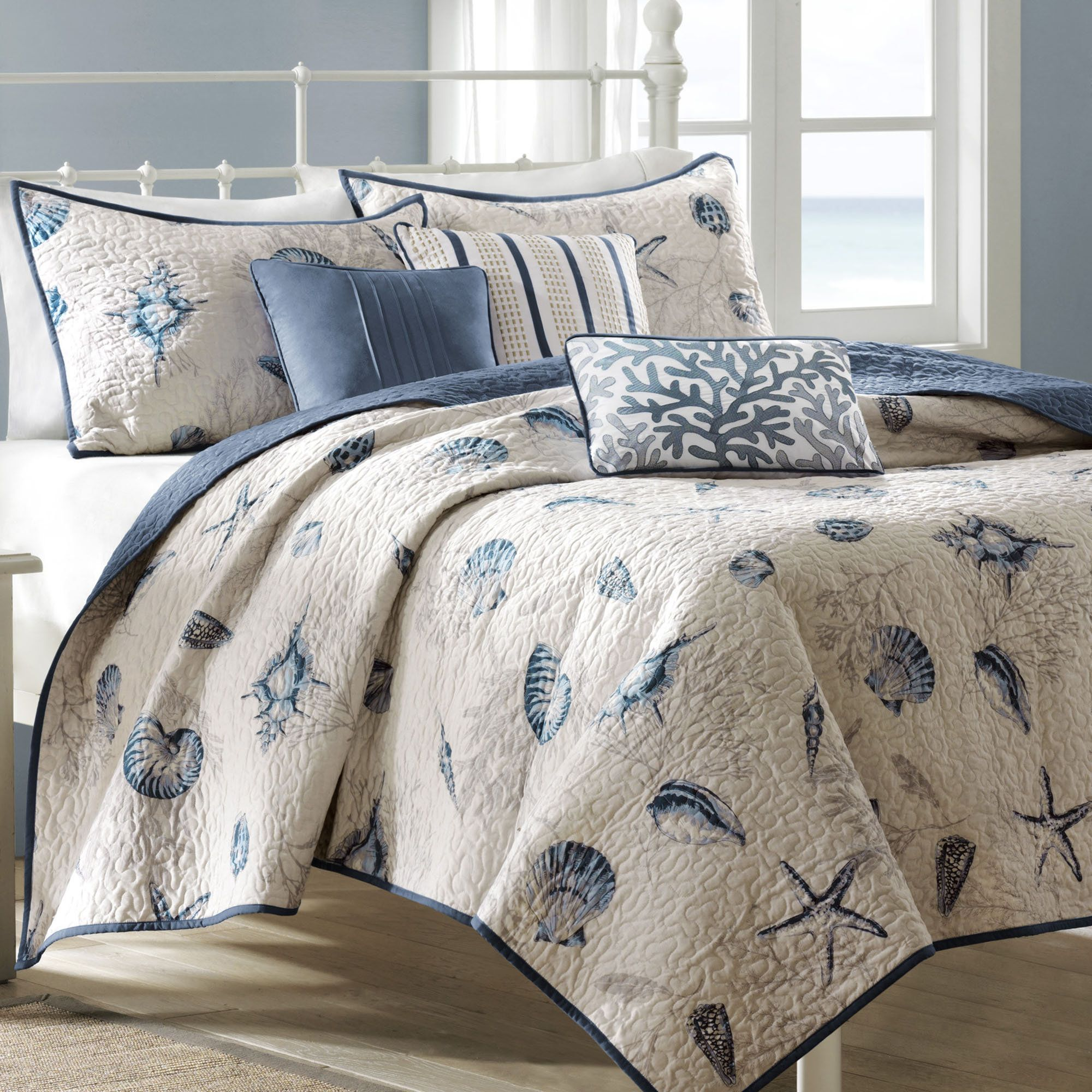 nantucket coastal seashell 6 pc coverlet bed set bed sets