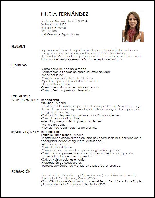 Modelo Curriculum Vitae Dependienta De Tienda De Ropa Formats I