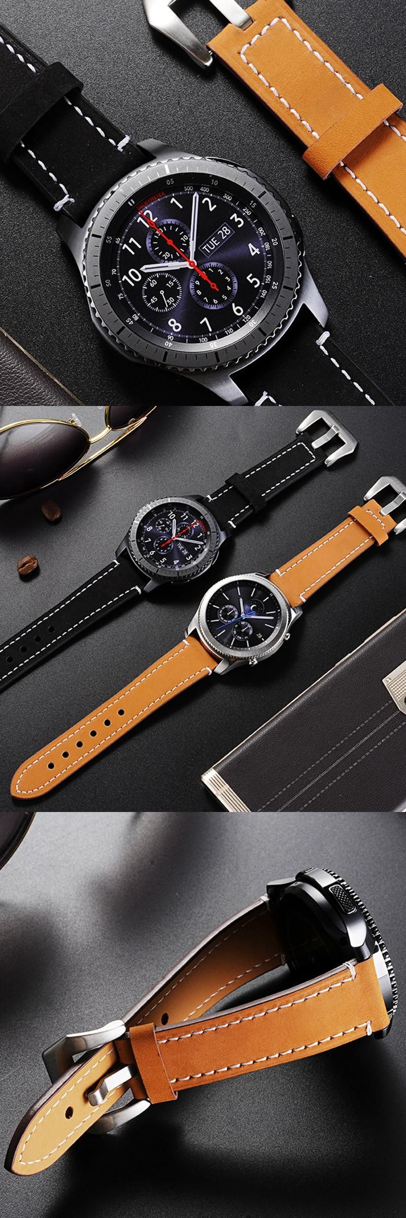 Newest 22mm Genuine Leather watch band strap for Samsung Gear S3 Classic Frontier with Quick Realease Pin watchbands