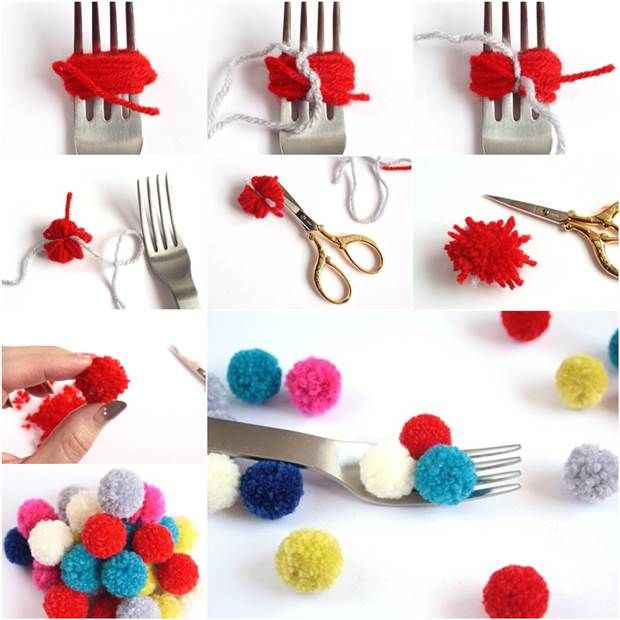 How to diy small pom poms with a fork pom poms facebook for What to make with pom poms crafts