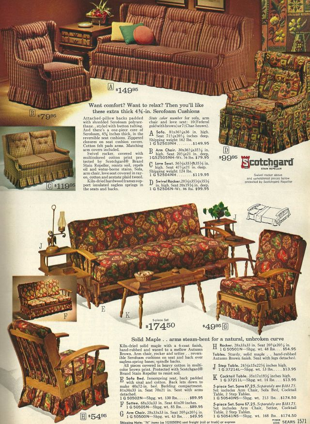 1965 Sears Catalog Living Room Set Retro Home Decor 60 S