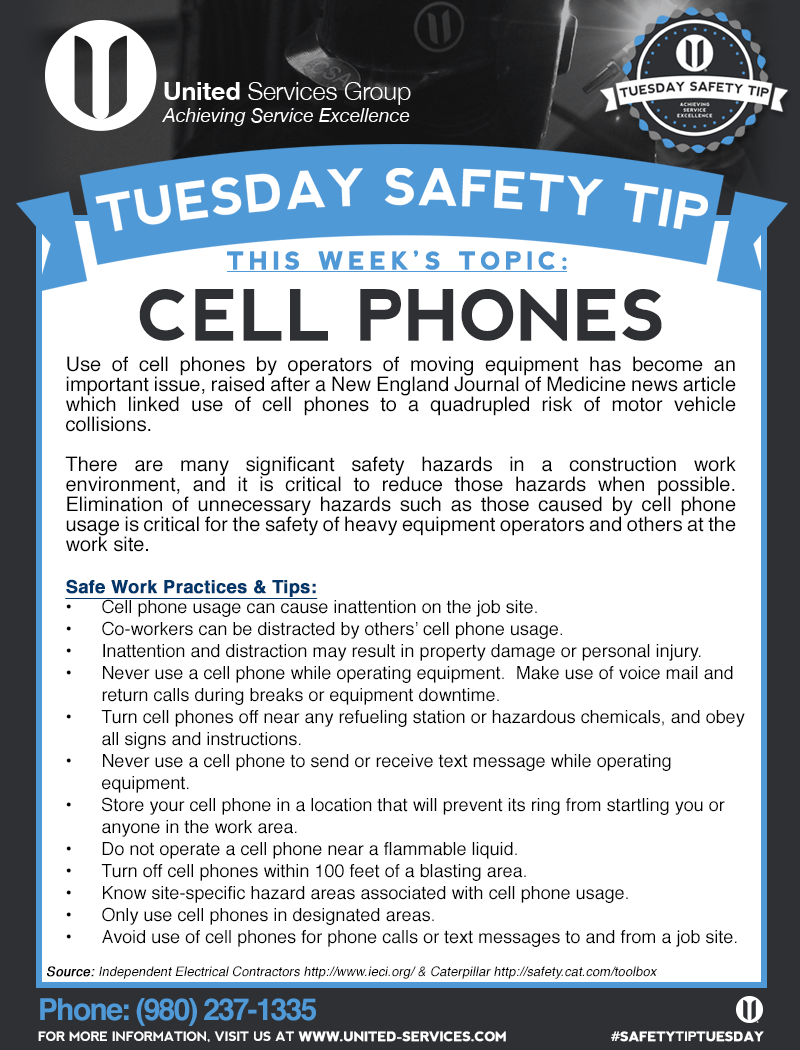 This week's Tuesday Safety Tip is about Cell Phone Safety