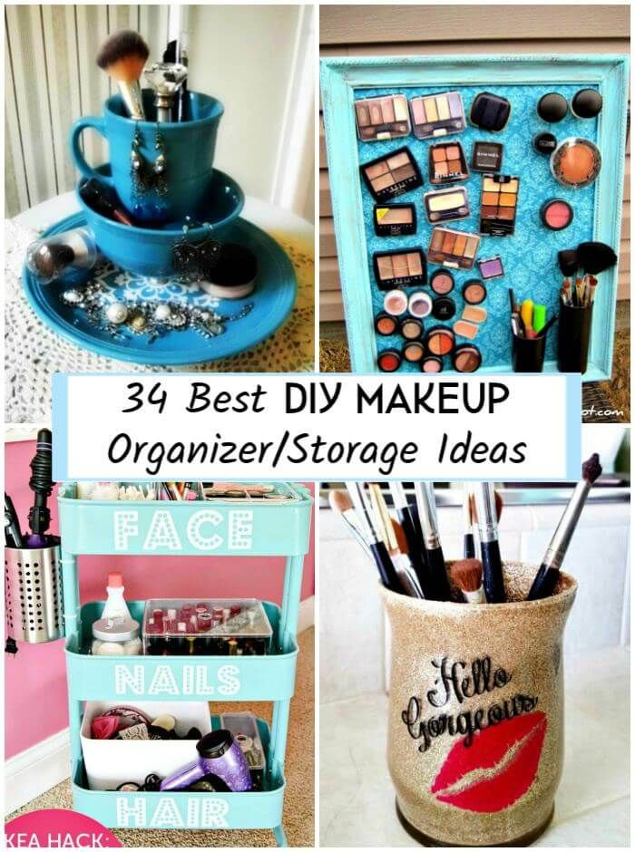 34 Best DIY Makeup Organizer/Storage Ideas -   13 unique makeup Storage ideas