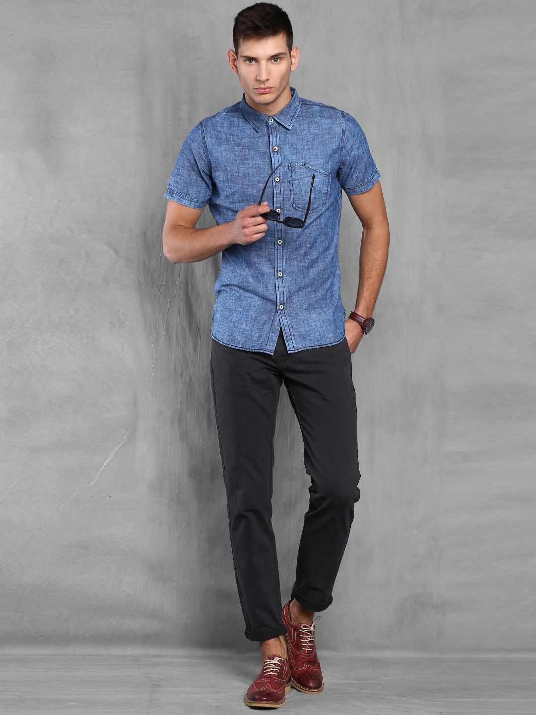 Black t shirt grey pants - Wrogn Charcoal Grey Slim Fit Chino Trousers Denim Shirt With Black Chino And Loafer Seems Perfect
