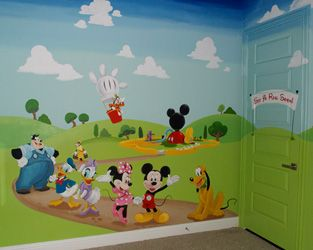 Mickey Mouse Clubhouse Kids Play Room Mural Hand Painted Murals