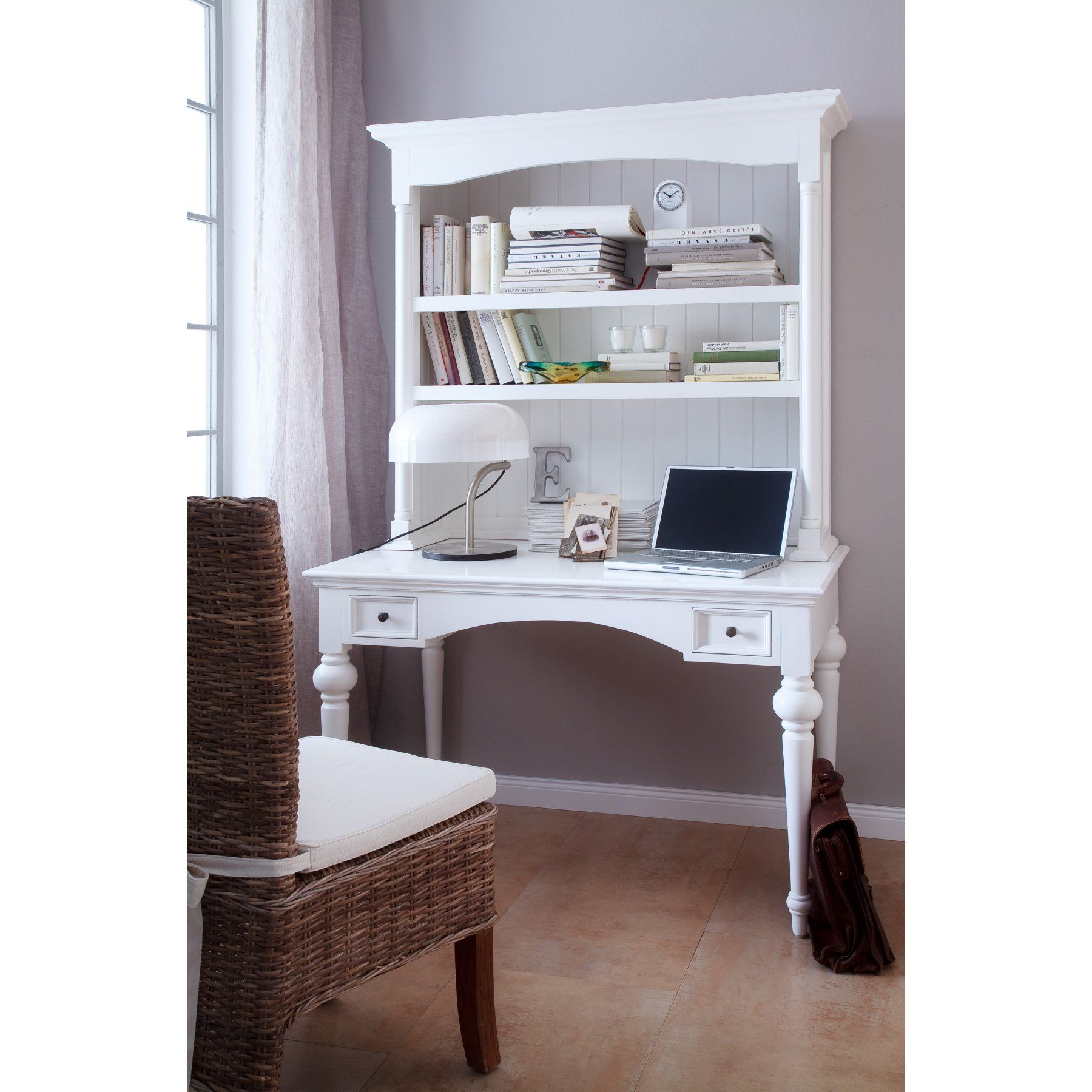 Provence By Infinita Secretary Writing Desk With Shelving Hutch