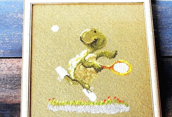 Kitsch Turtle Needlepoint Framed Art Tennis by vintageeclecticity, $38.00