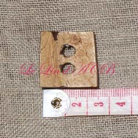 Bouton carré, en coco, 25 mm : Boutons par lin-acb