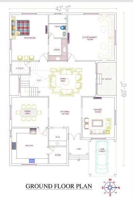 Hut Shape Roof Bungalow 42 60 Duplex House Plan 2520sqft East Facing House Plan