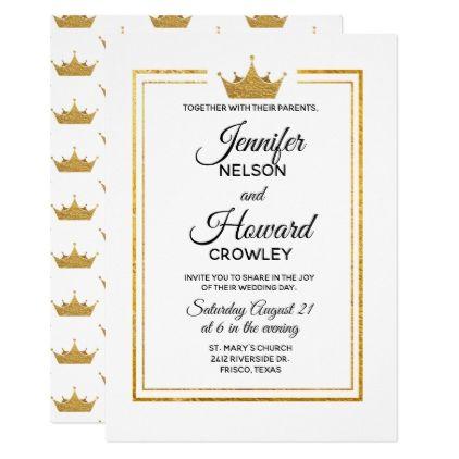 Golden Crown Wedding Invitation chic design idea diy elegant
