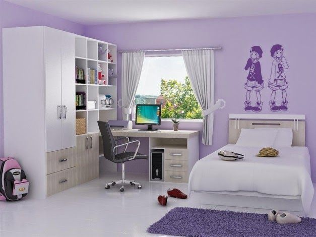 Inspirasi Desain Interior Kamar Tidur Anak Gadis Warna Ungu