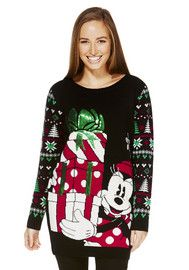 Disney Minnie Mouse Long Line Christmas Jumper