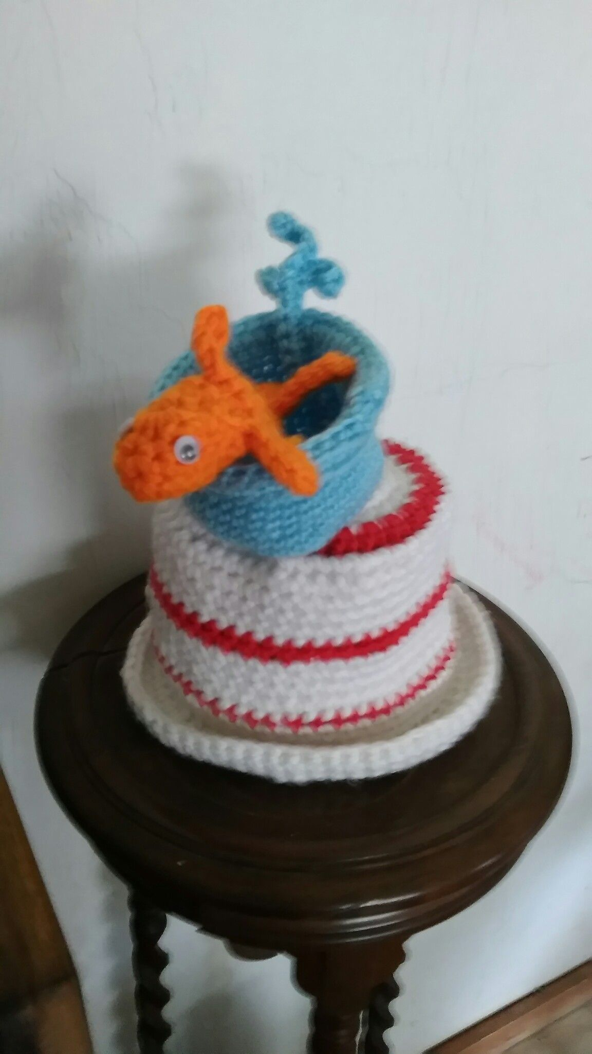 Dr. Seuss Cat in the Hat with a little fish By poppycrochet