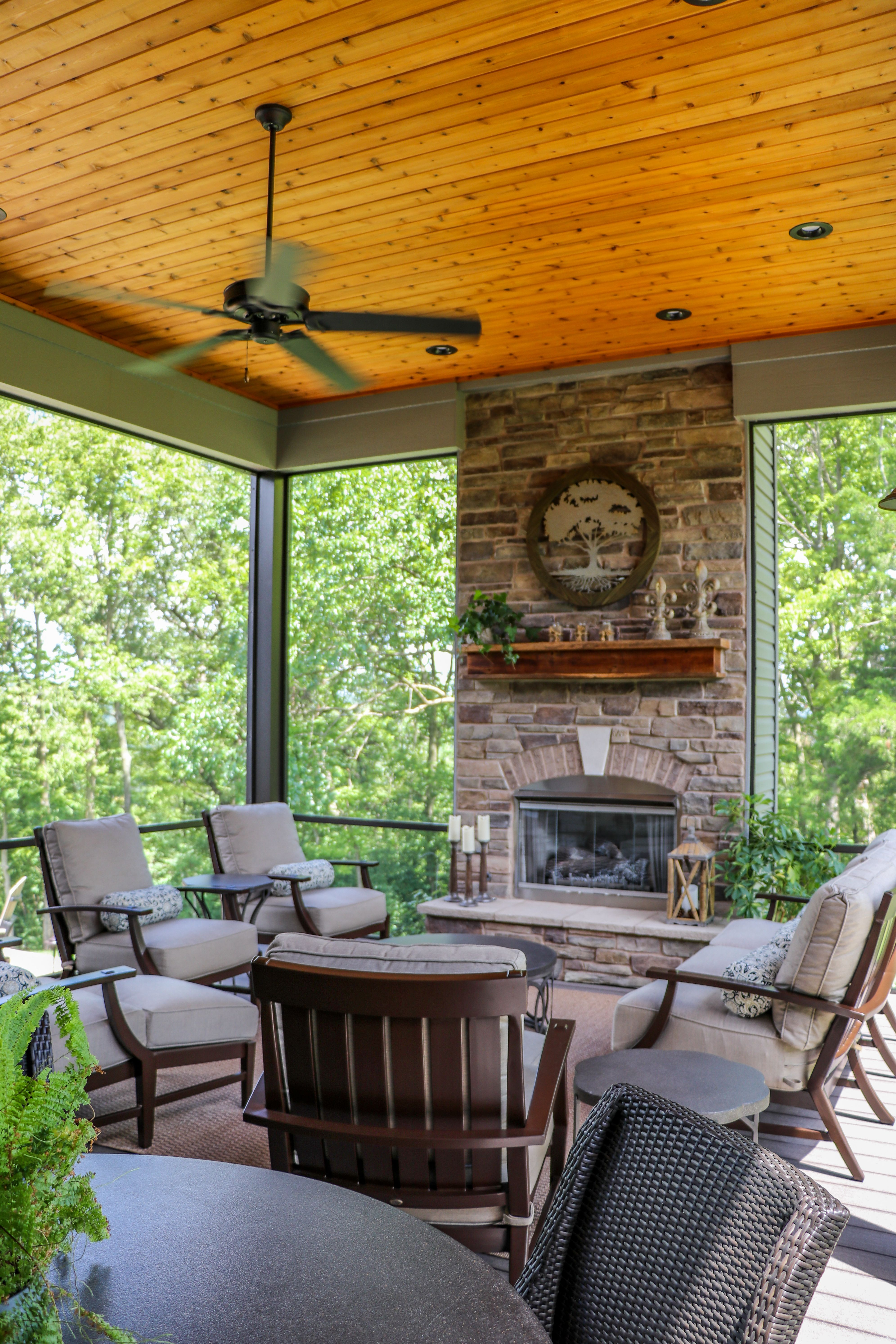 Screen Room With Fireplace Feature | Home addition ... on Building Outdoor Living Space id=15571
