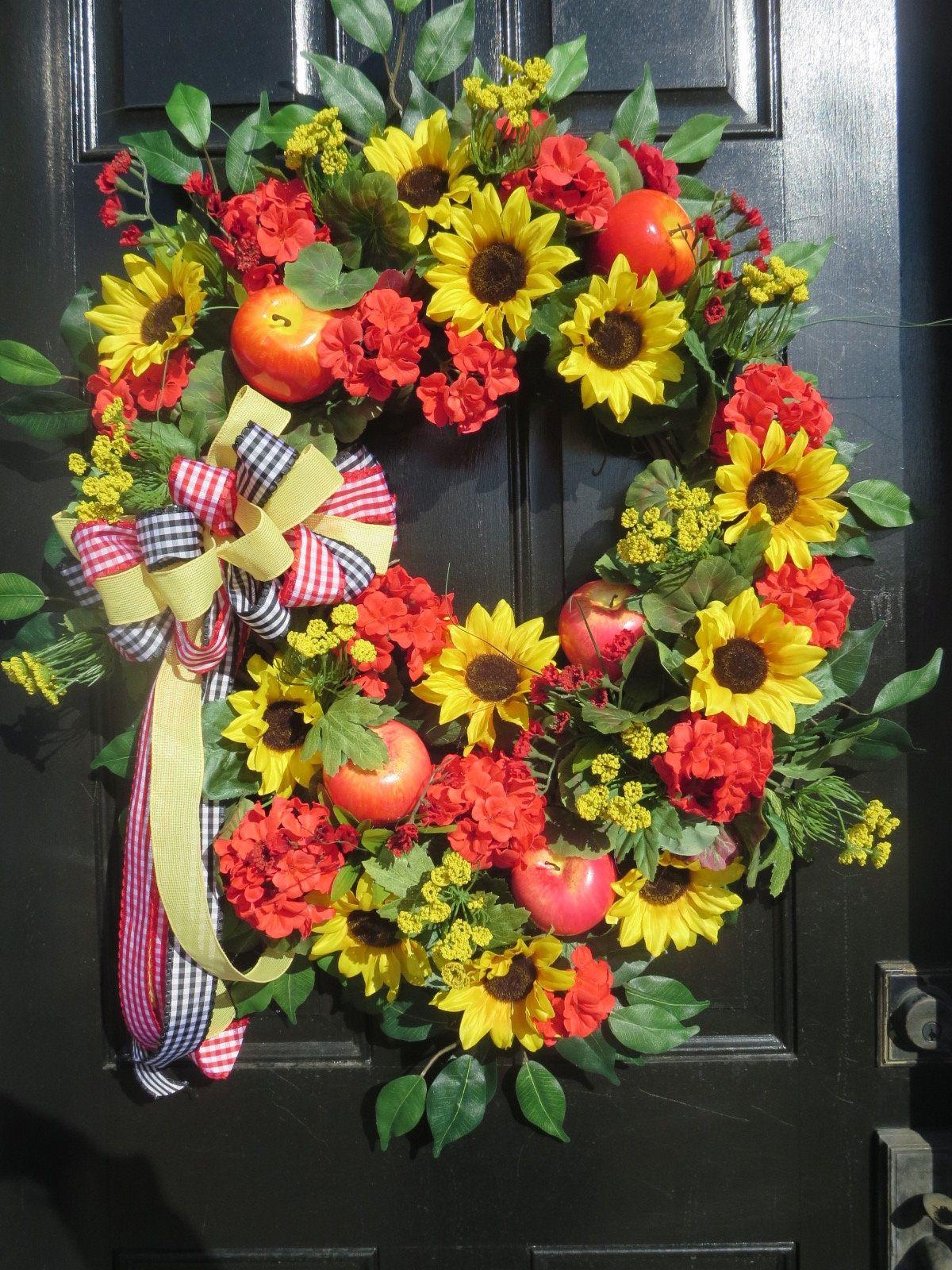 Photo of Farmhouse Door Wreath, XL Sunflower Wreath, Spring Door Wreath, Summer Wreath Front Door, Country Door Decor