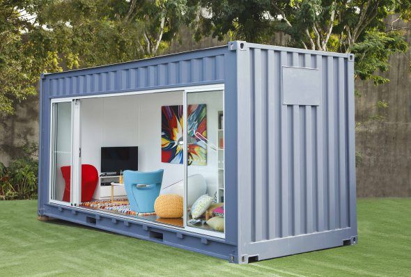 A steel shipping container is the new kid's hang out