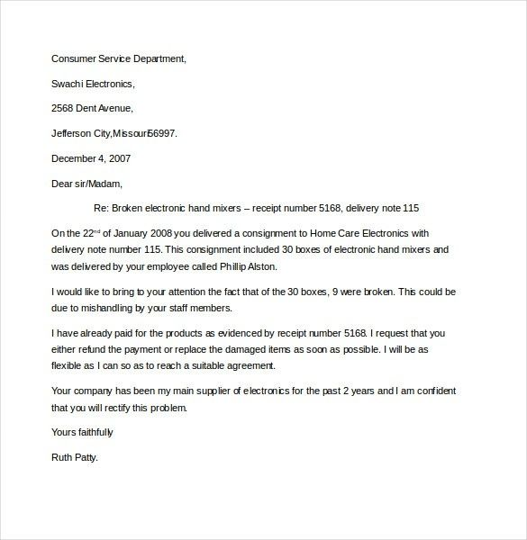 10 business complaint letter templates free sample example 10 business complaint letter templates free sample example within business complaint letter format spiritdancerdesigns Image collections